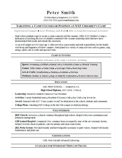Camp Counselor Resume Sample | Monster.com