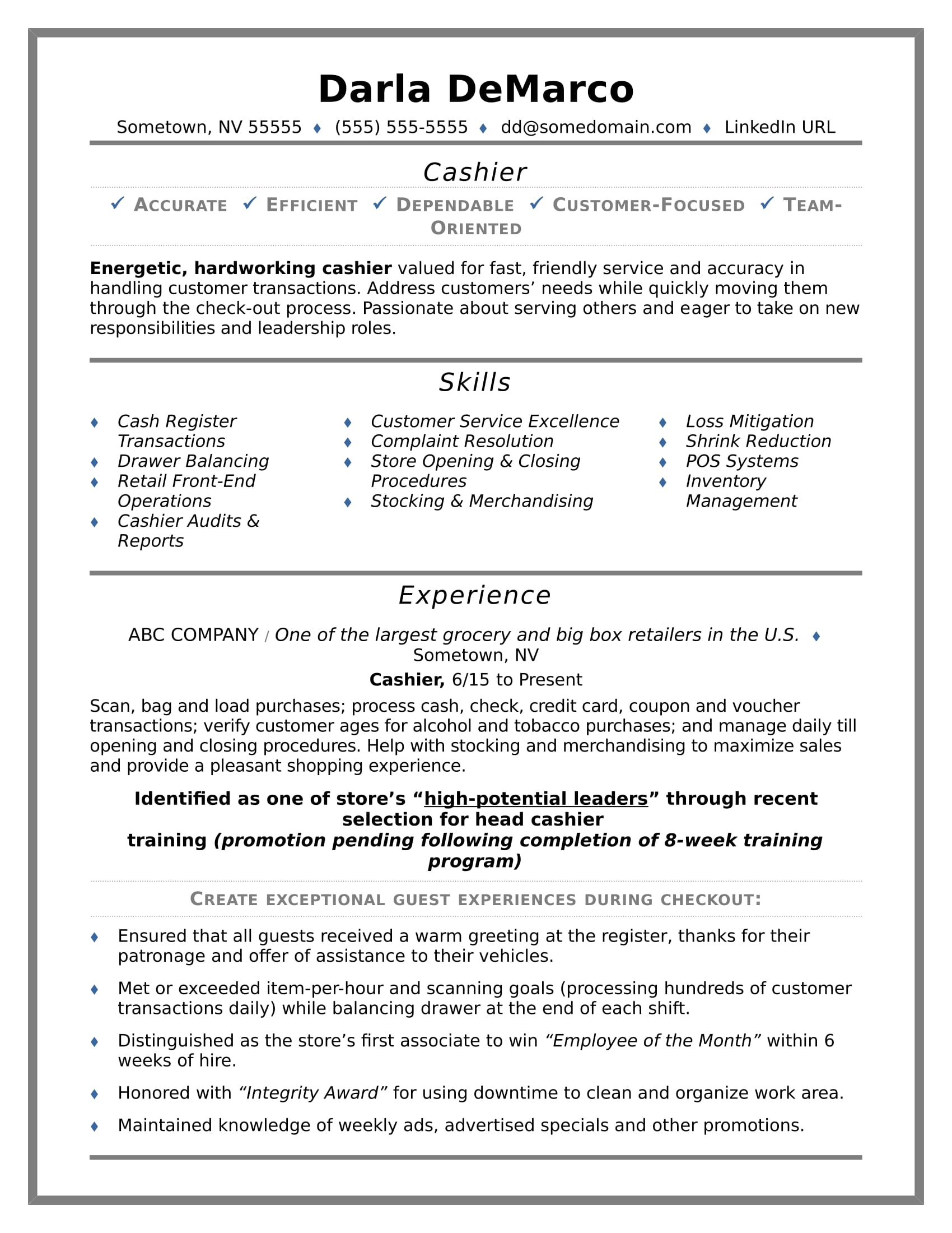 Marvelous Cashier Resume Sample