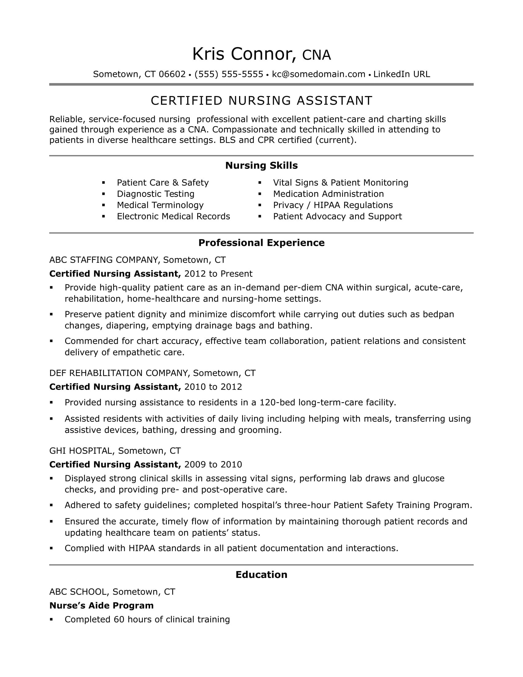 cna resume example - Sample Certified Nursing Assistant Resume
