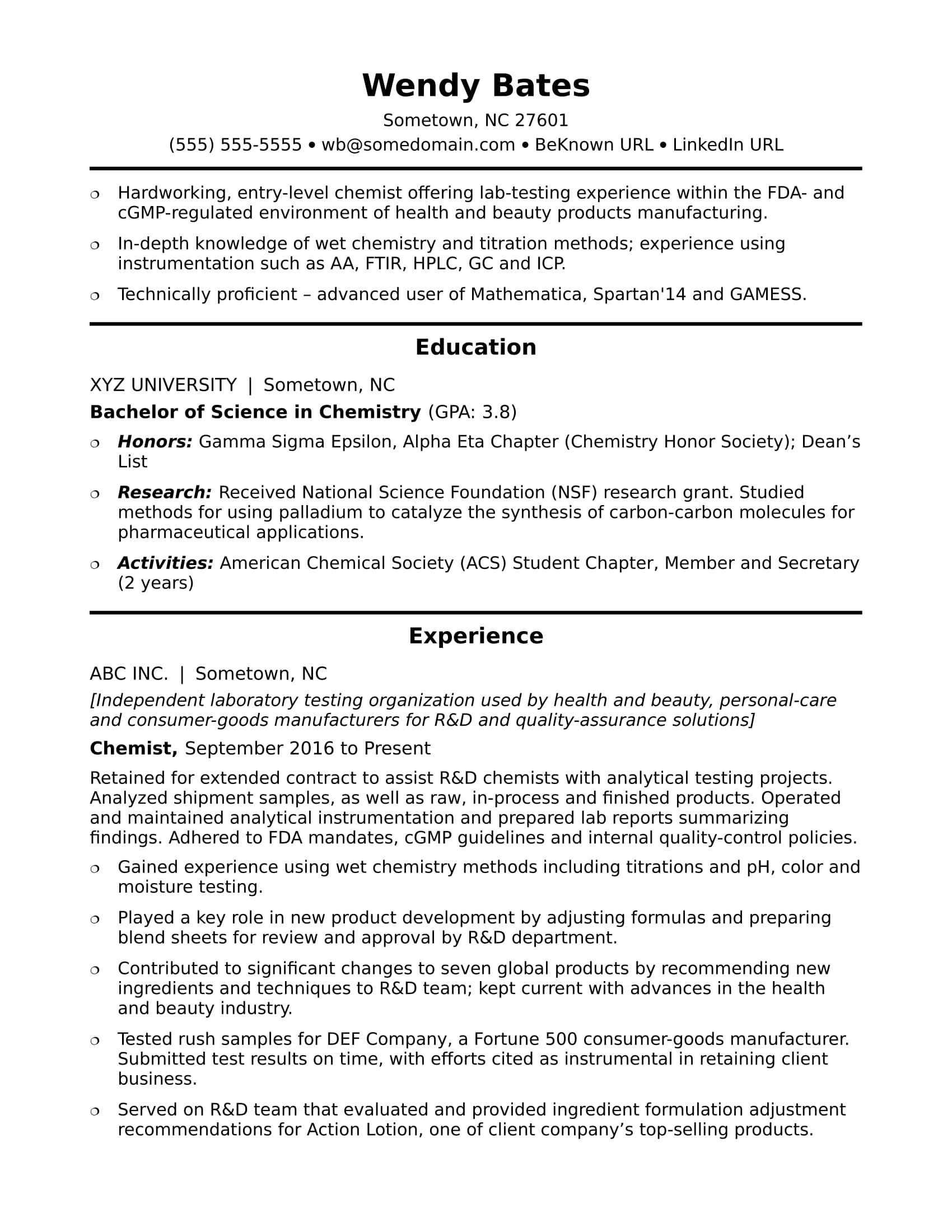 Sample resume for an entry-level chemist