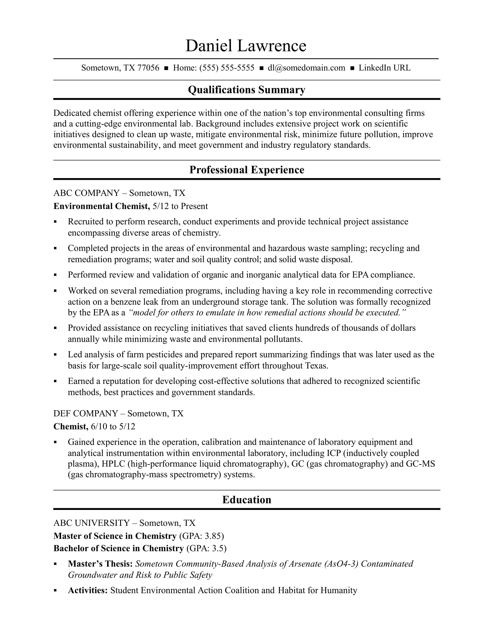 sample resume for a midlevel chemist - Help Creating A Resume