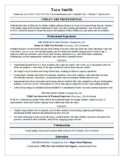 Child Care Resume Sample  Daycare Resume
