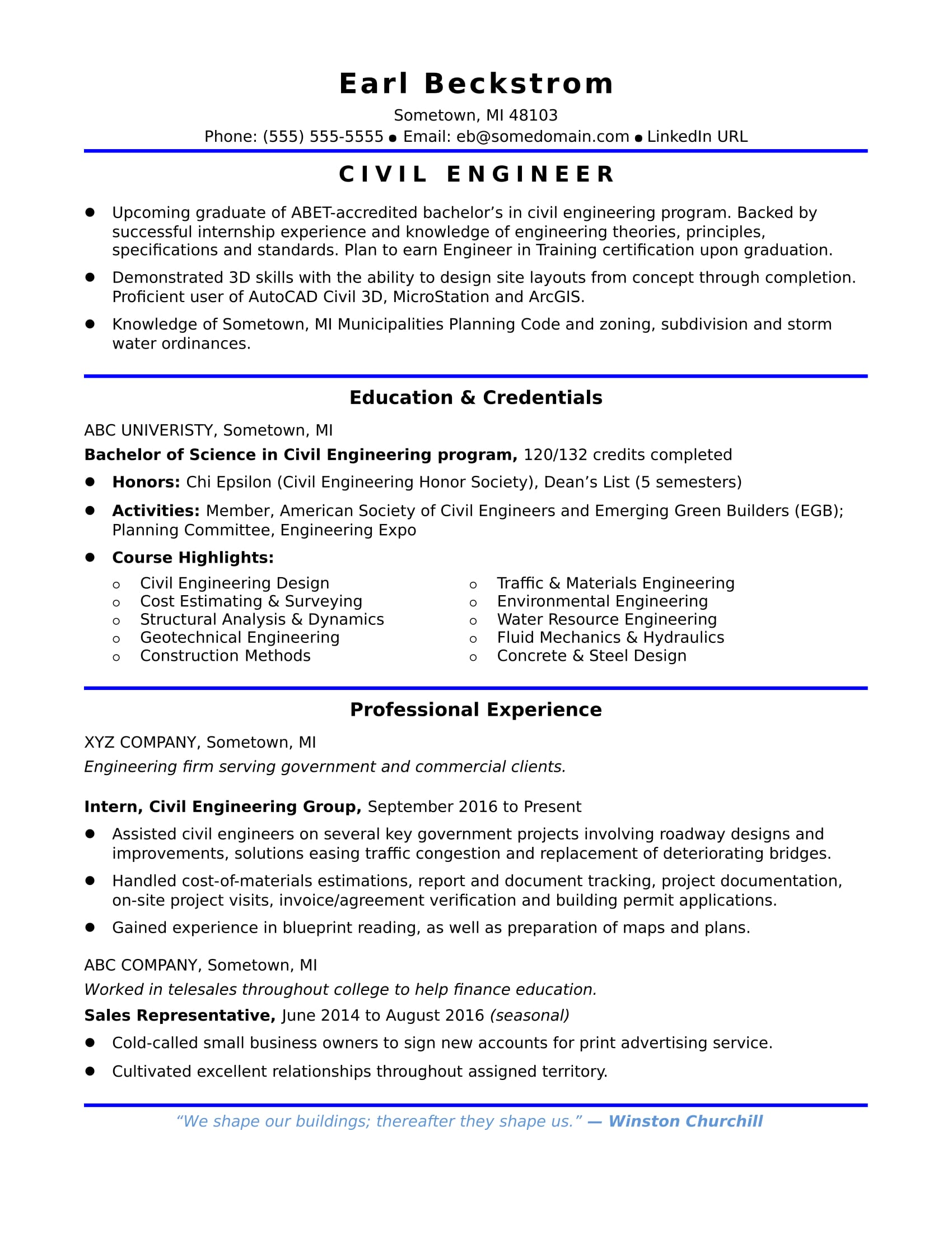 Sample Resume for an Entry-Level Civil Engineer | Monster com