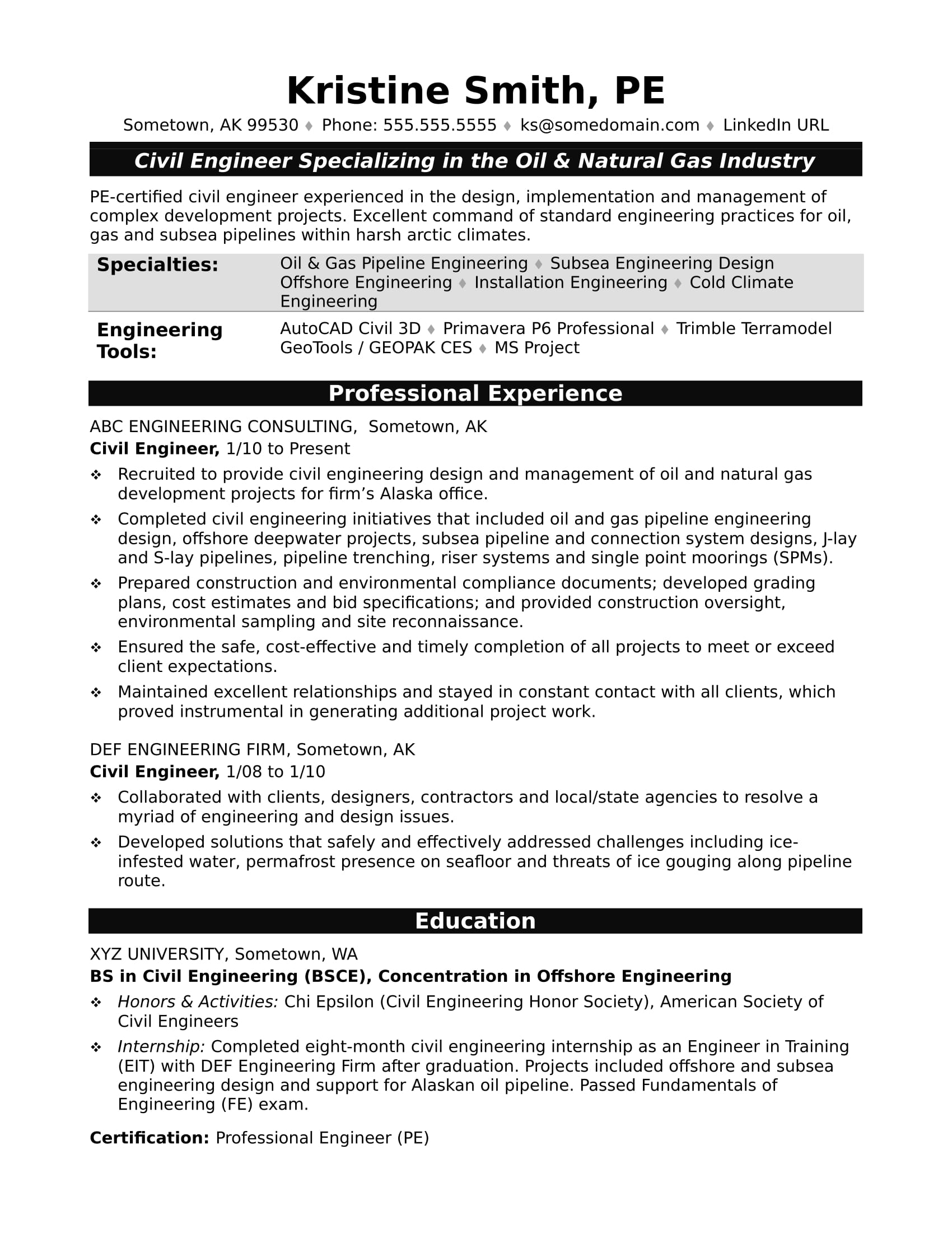 Sample Resume For A Midlevel Civil Engineer  Oil And Gas Resume
