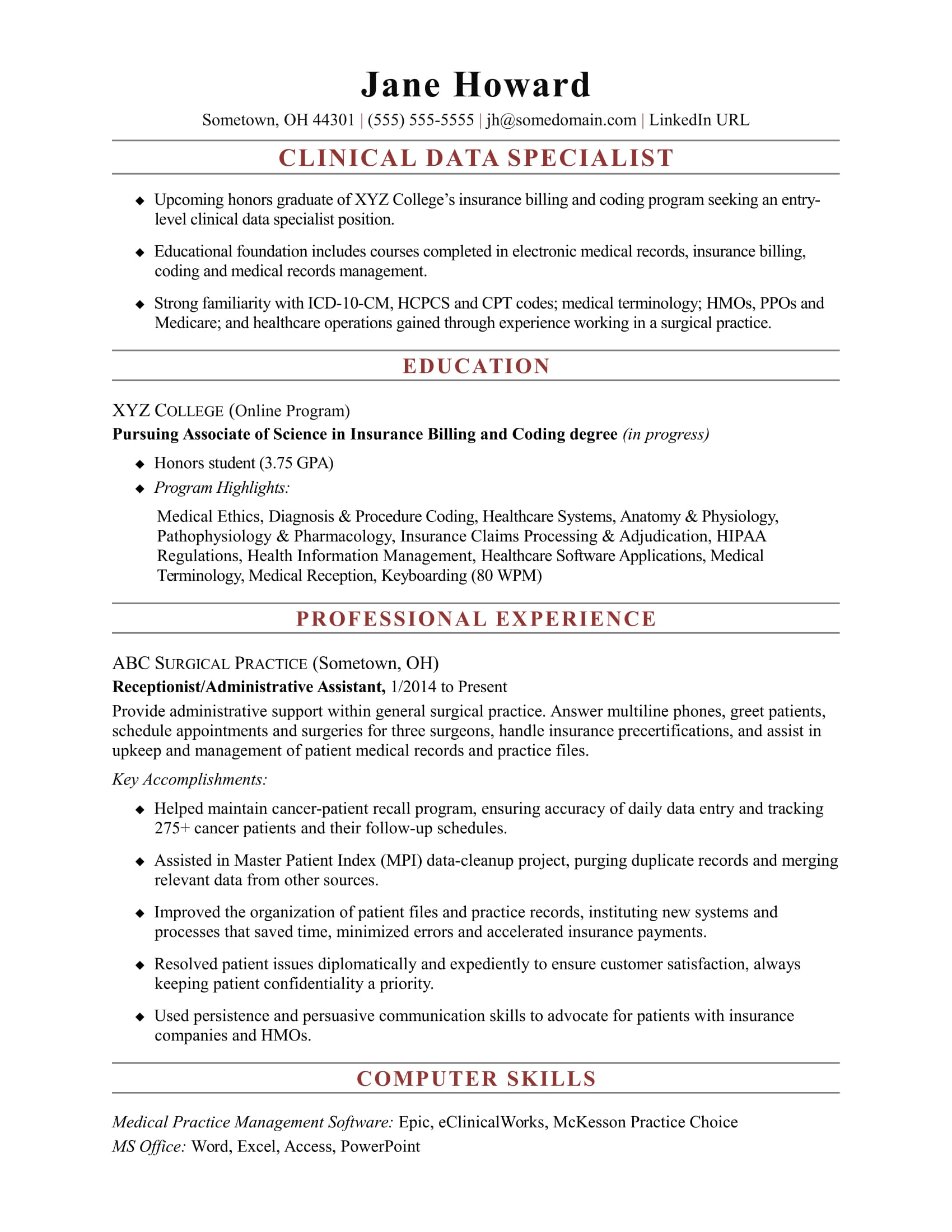 sample resume for an entry level clinical data specialist - Medical Records Resume