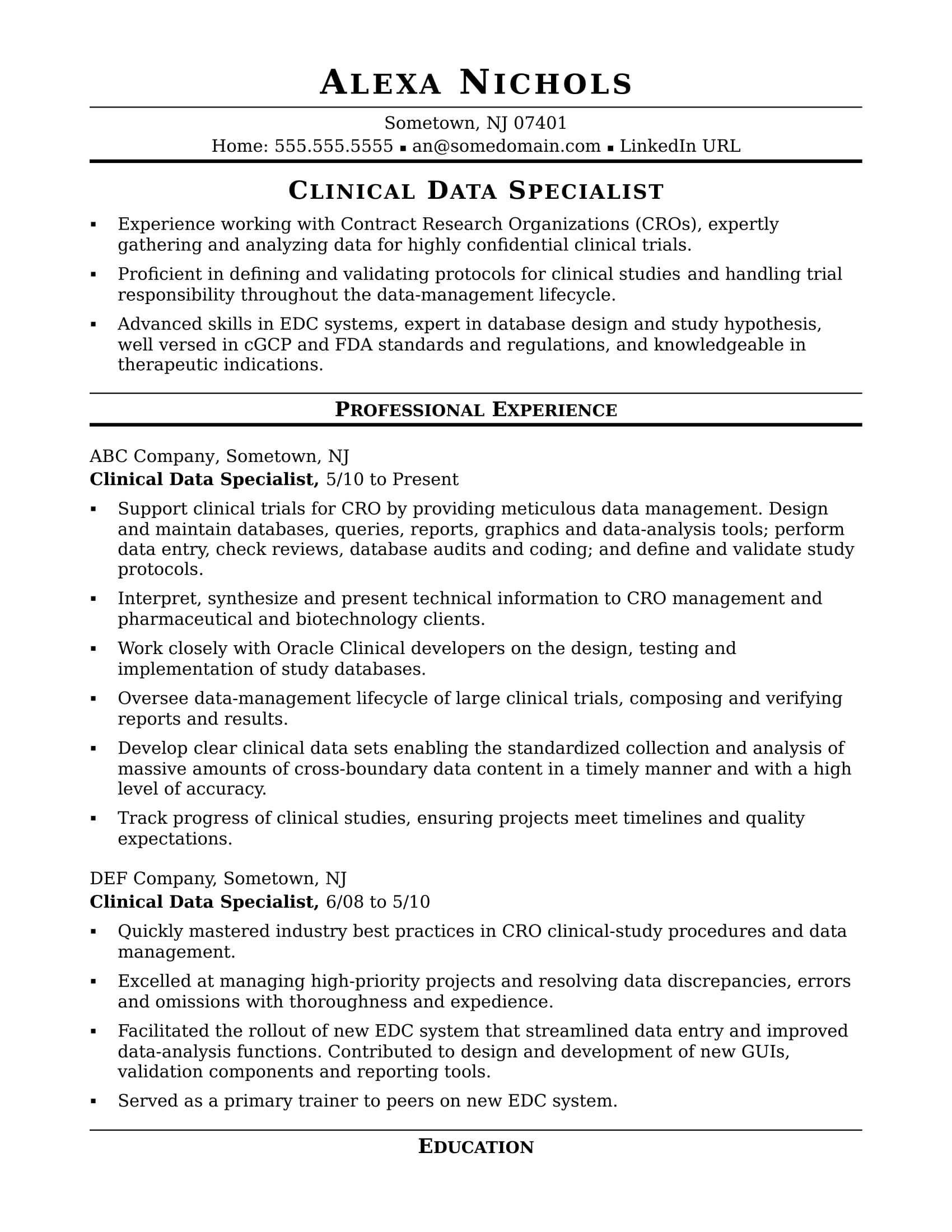 clinical data specialist resume sample