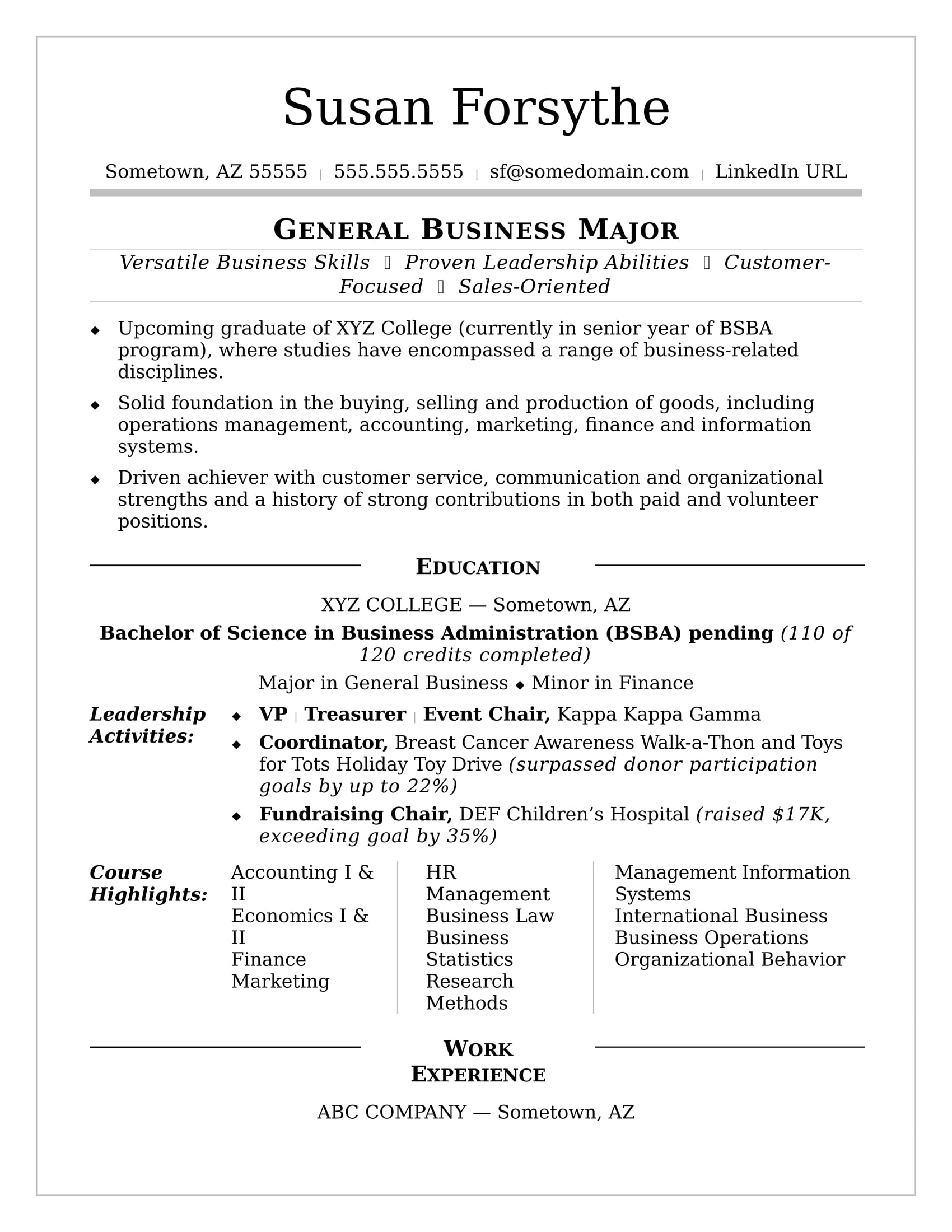 College Resume Sample  Current College Student Resume Template