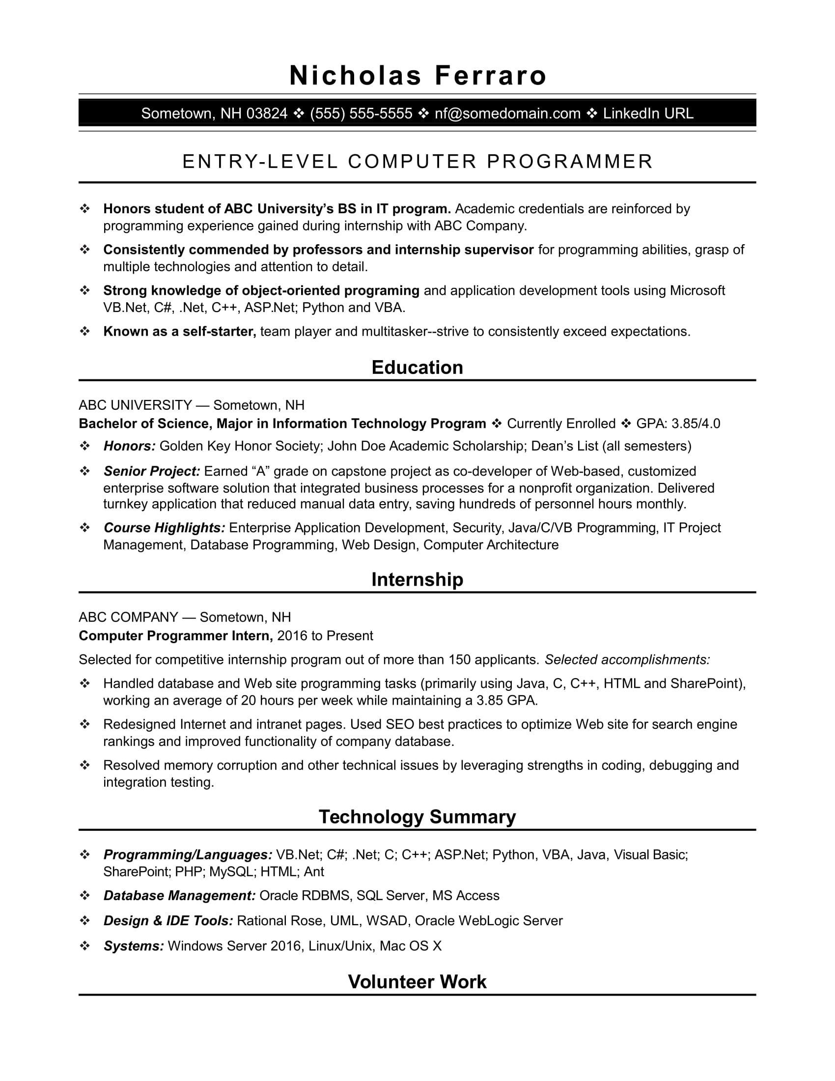 sample resume for an entry level computer programmer - Sample Resume Internship