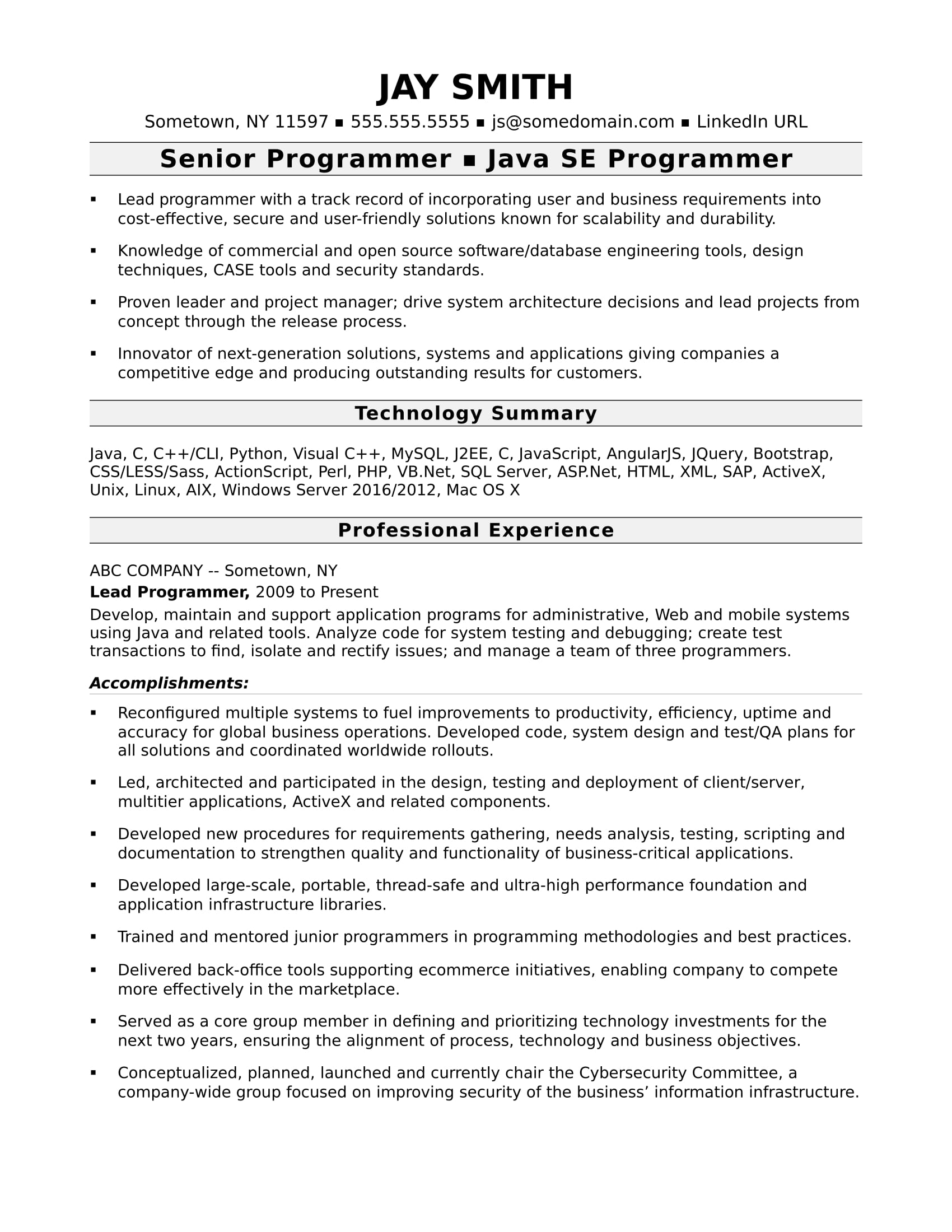 sample resume for an experienced computer programmer - Java Sample Resume