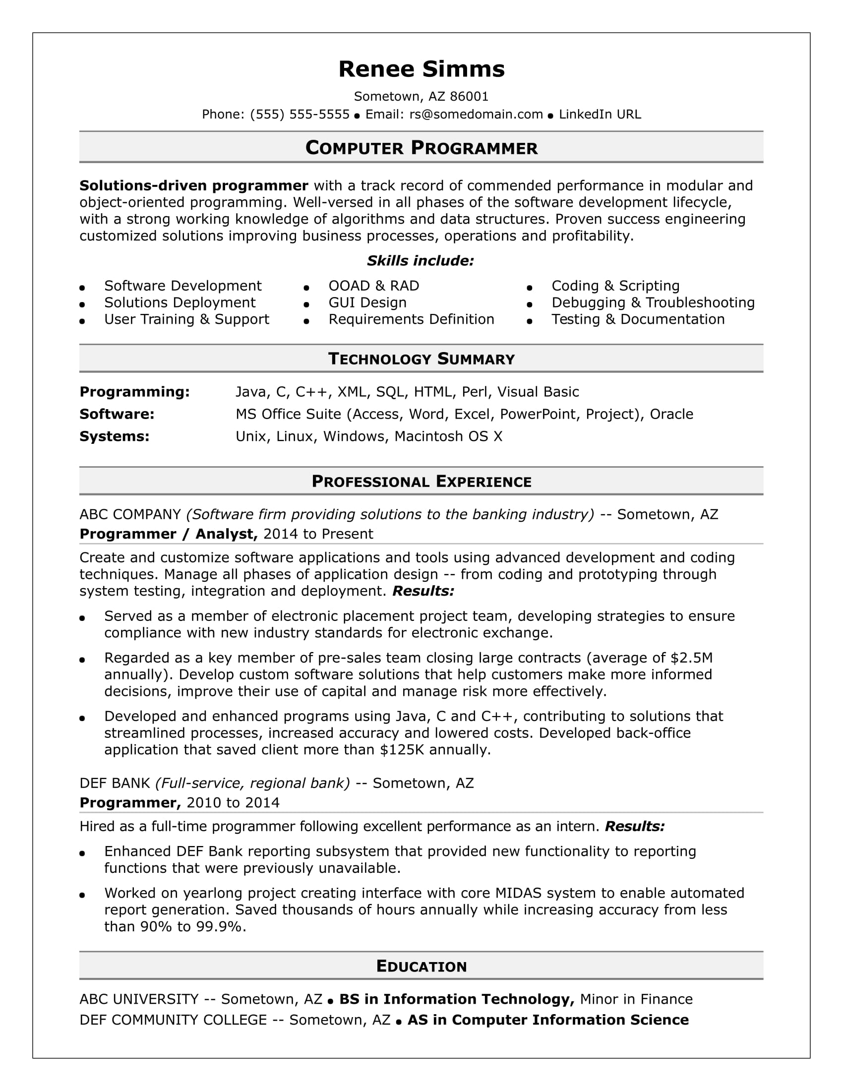 sample resume for a midlevel computer programmer monster com