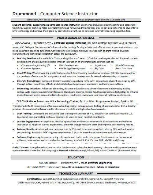 Computer Science Resume Sample Monster Com
