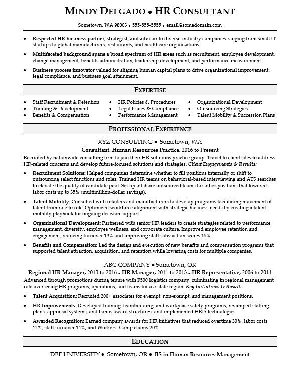 Consulting Resume Sample