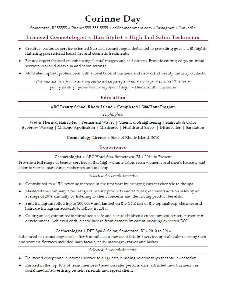 Cosmetologist Resume Sample  MonsterCom