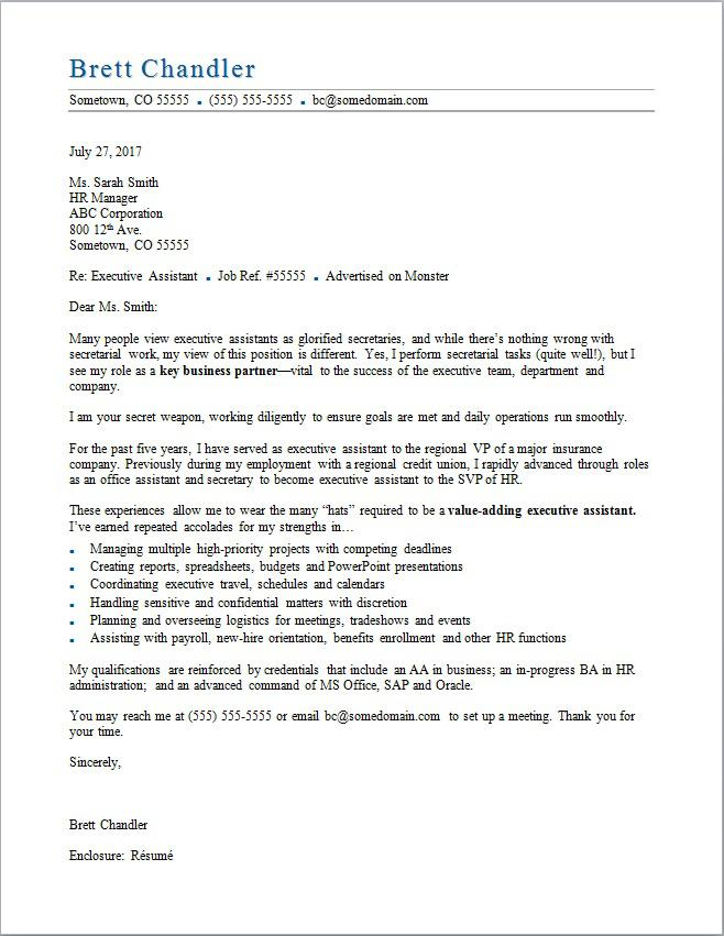 Executive Assistant Cover Letter  Cover Letter Sample For Hr Position
