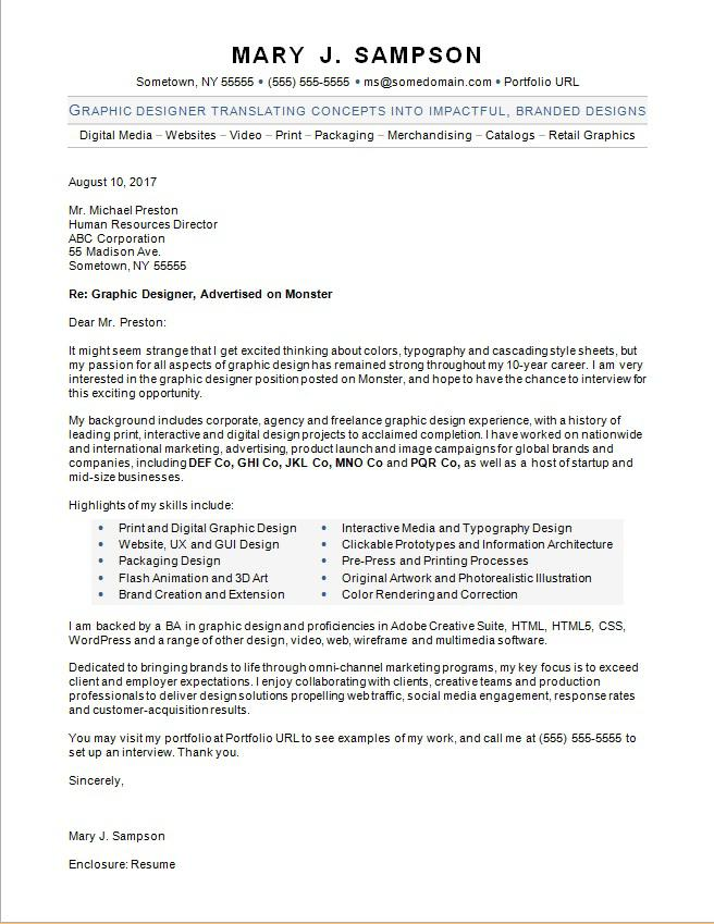 graphic designer cover letter sample  monstercom graphic designer cover letter