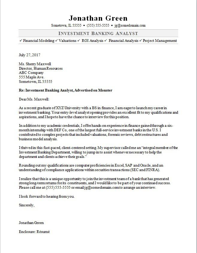 Investment Banker Cover Letter Sample  MonsterCom