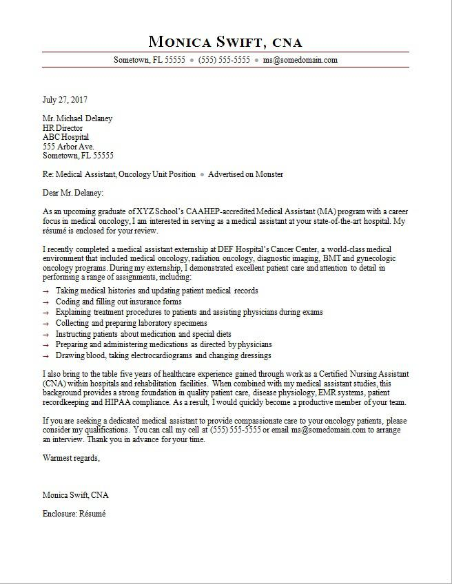 Medical Assistant Cover Letter Sample Monstercom