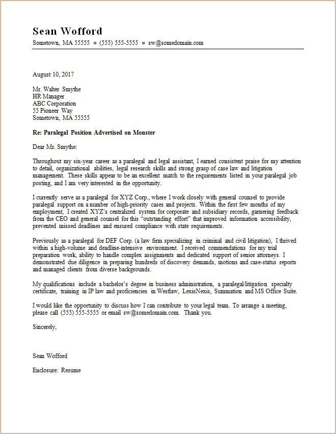 paralegal cover letter - Sample Cover Letter Law