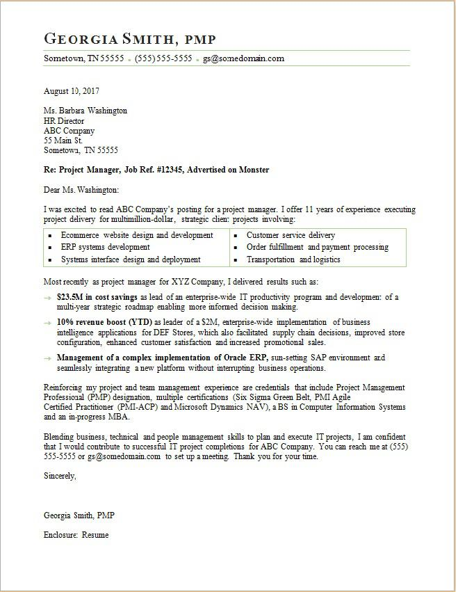 Project manager cover letter sample for Cover letter for project coordinator position