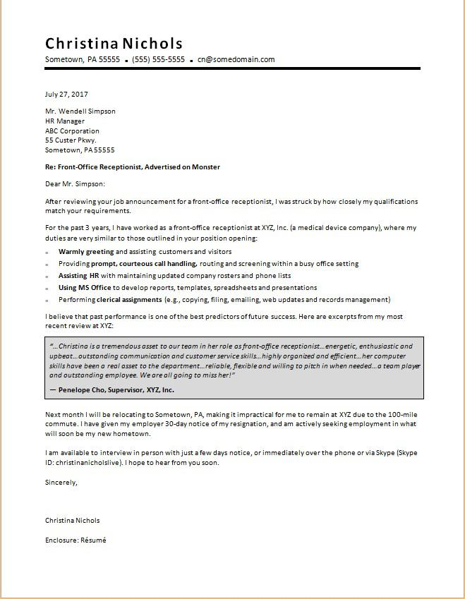 Receptionist Cover Letter Sample  MonsterCom