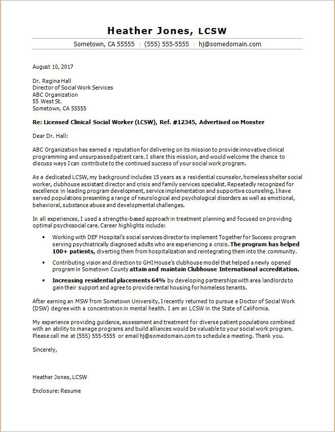 Social Work Cover Letter Sample Monstercom