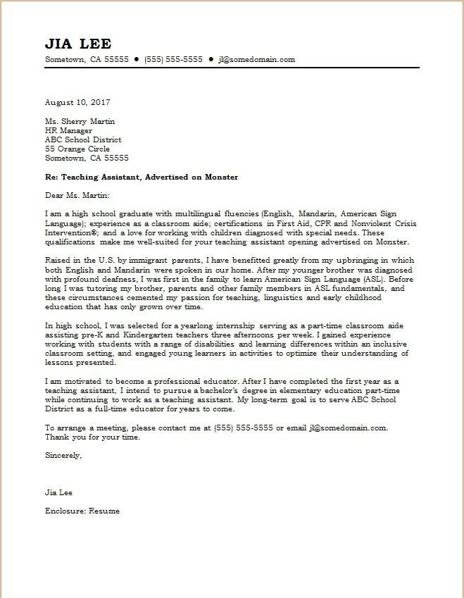 Teaching Assistant Cover Letter  Letter To Teacher
