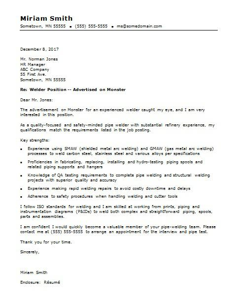 Welder Cover Letter Sample | Monster com