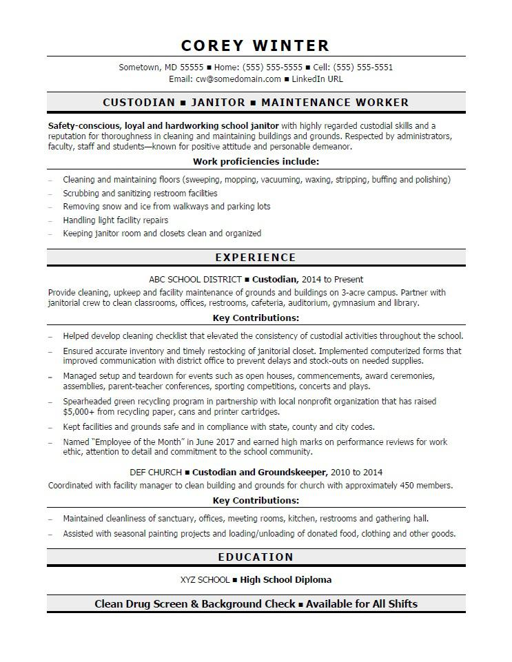 custodian resume sample - School Custodian Resume