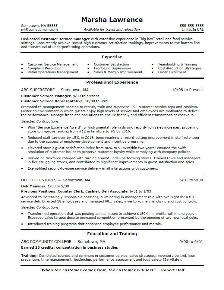 Customer Service Manager Resume Sample | Monster.com