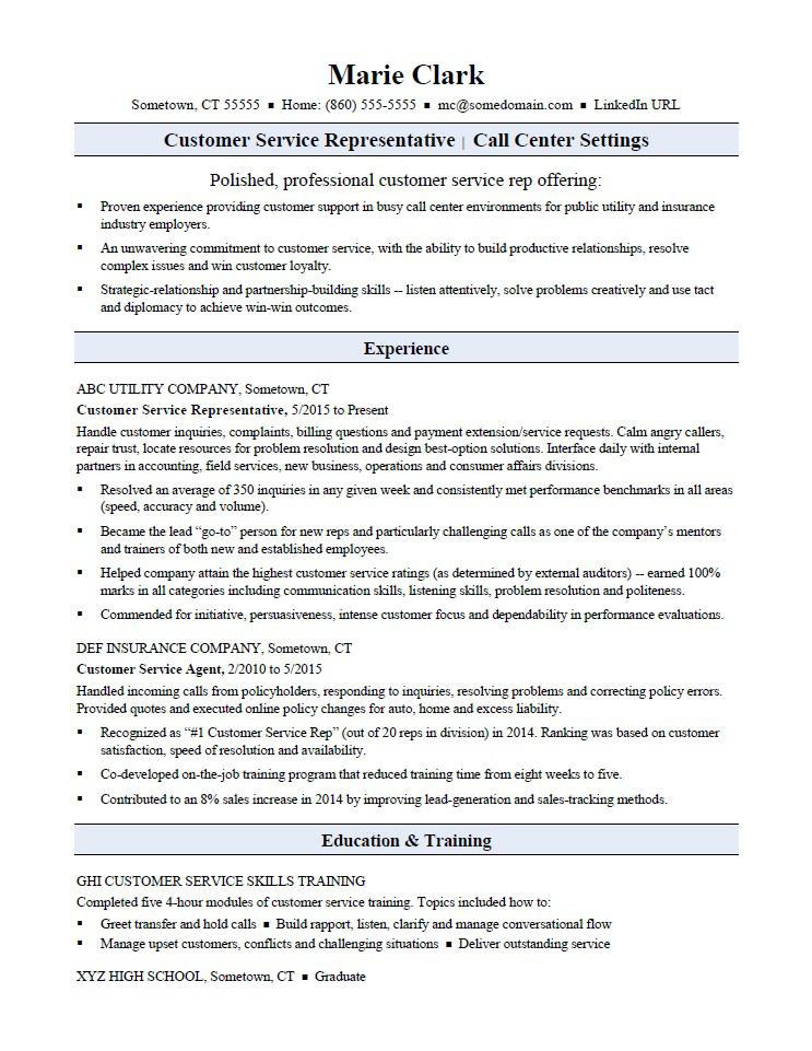 sample resume for a customer service representative - Call Center Resume Skills