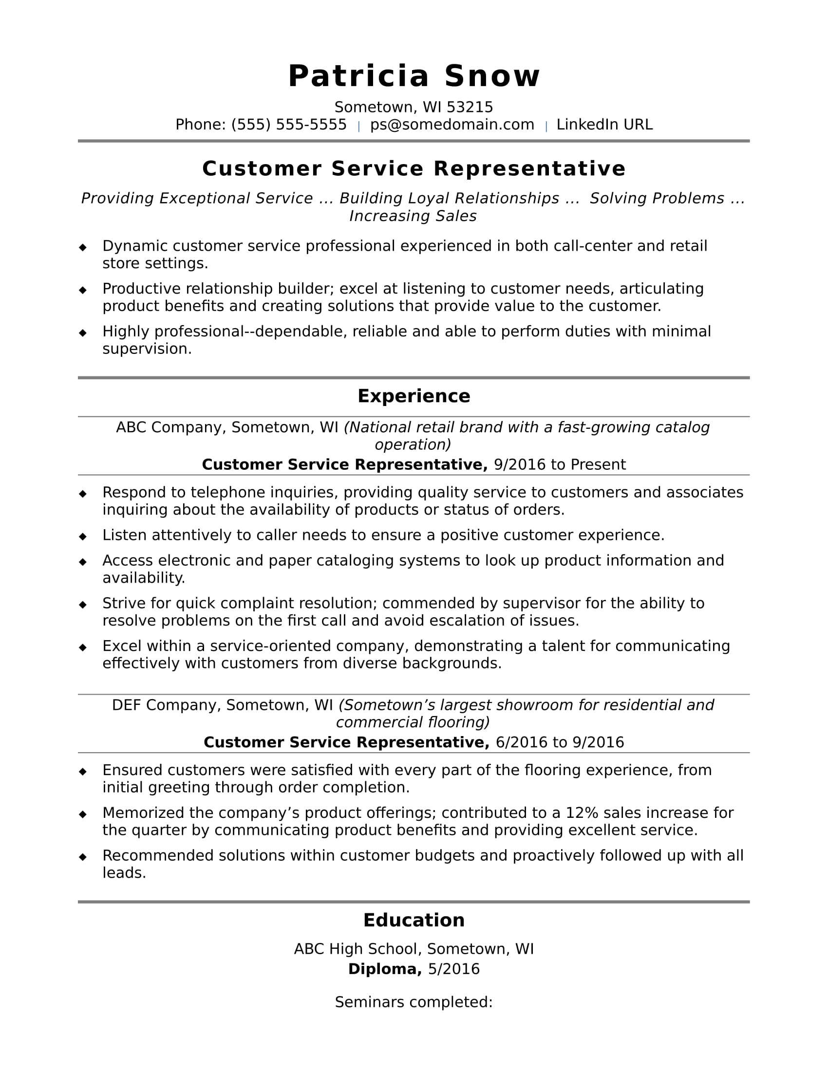 Entry level customer service resume examples