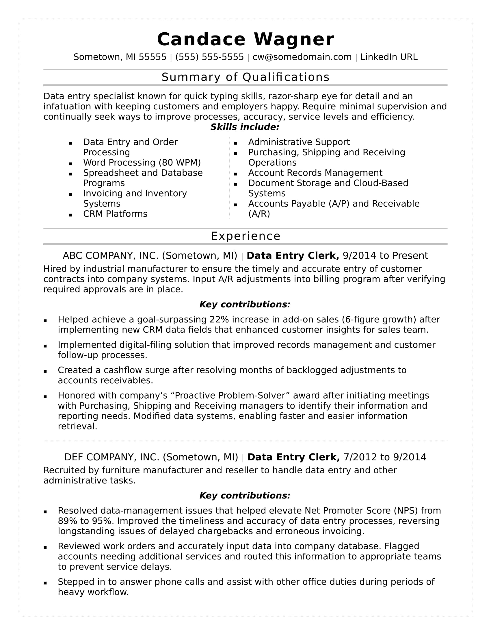 sample data entry resumes