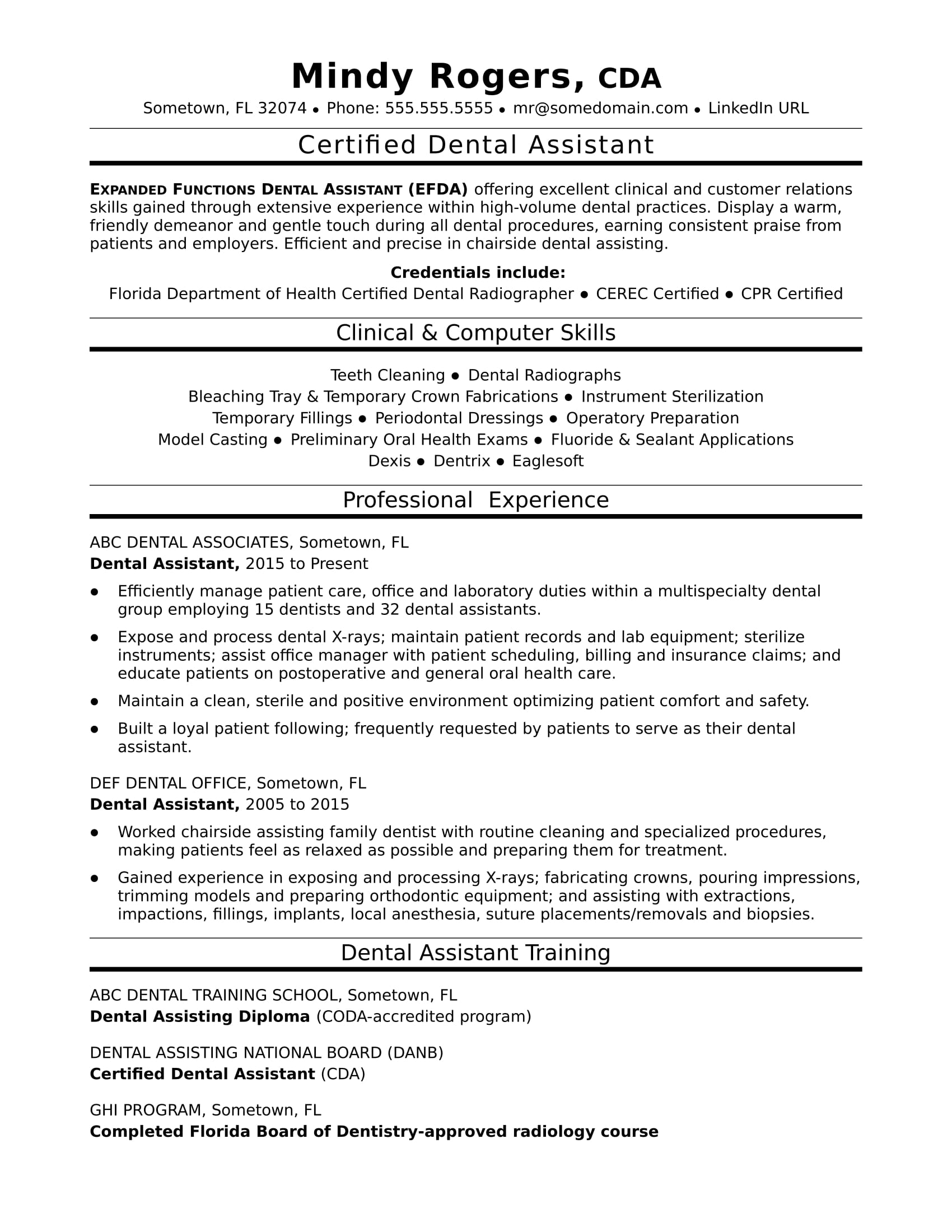 dental assistant resume sle
