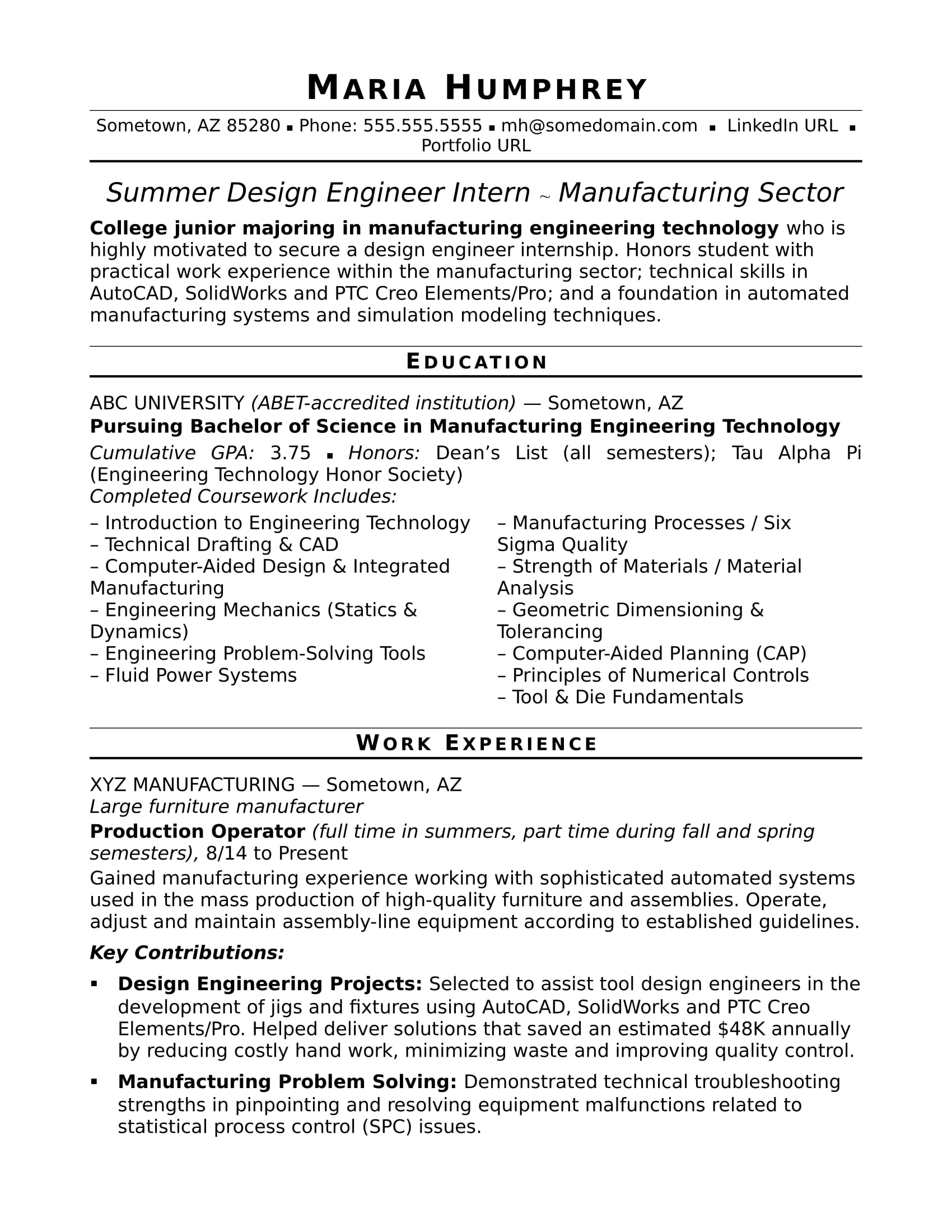 sample resume for an entry level design engineer - Manufacturing Engineer Sample Resume