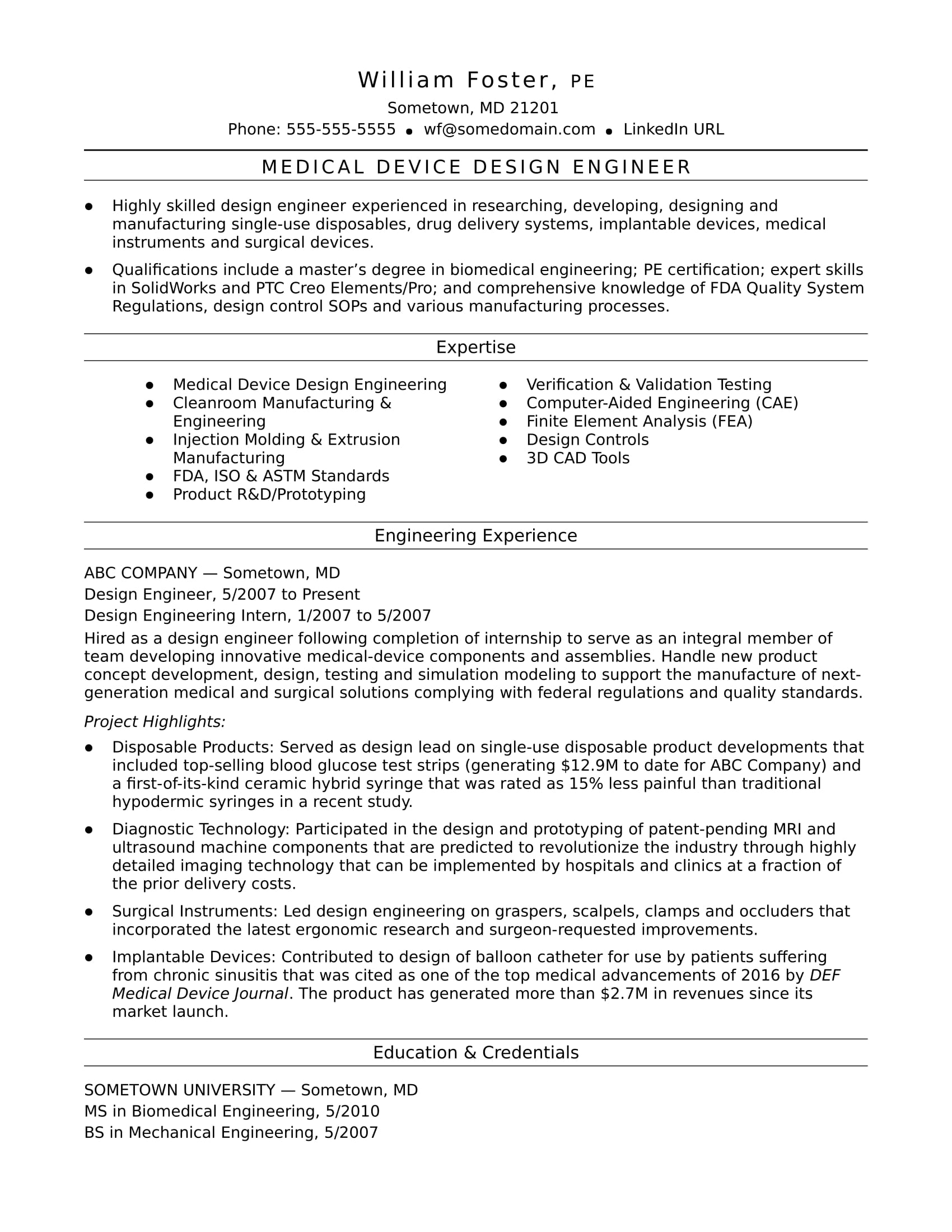 sample resume for a midlevel design engineer - Design Engineer Resume