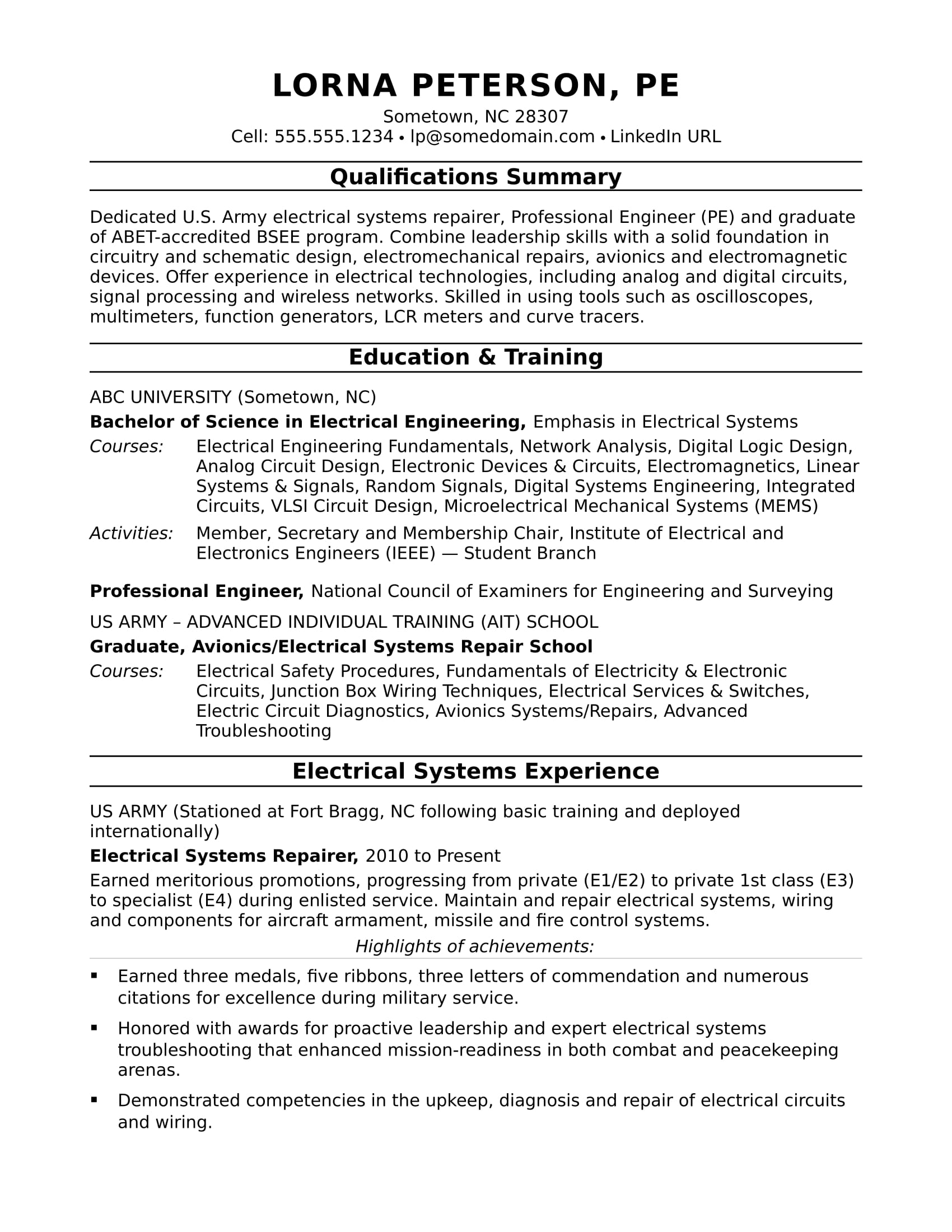 Sample resume for a midlevel electrical engineer for Sample resume of an electrical engineer