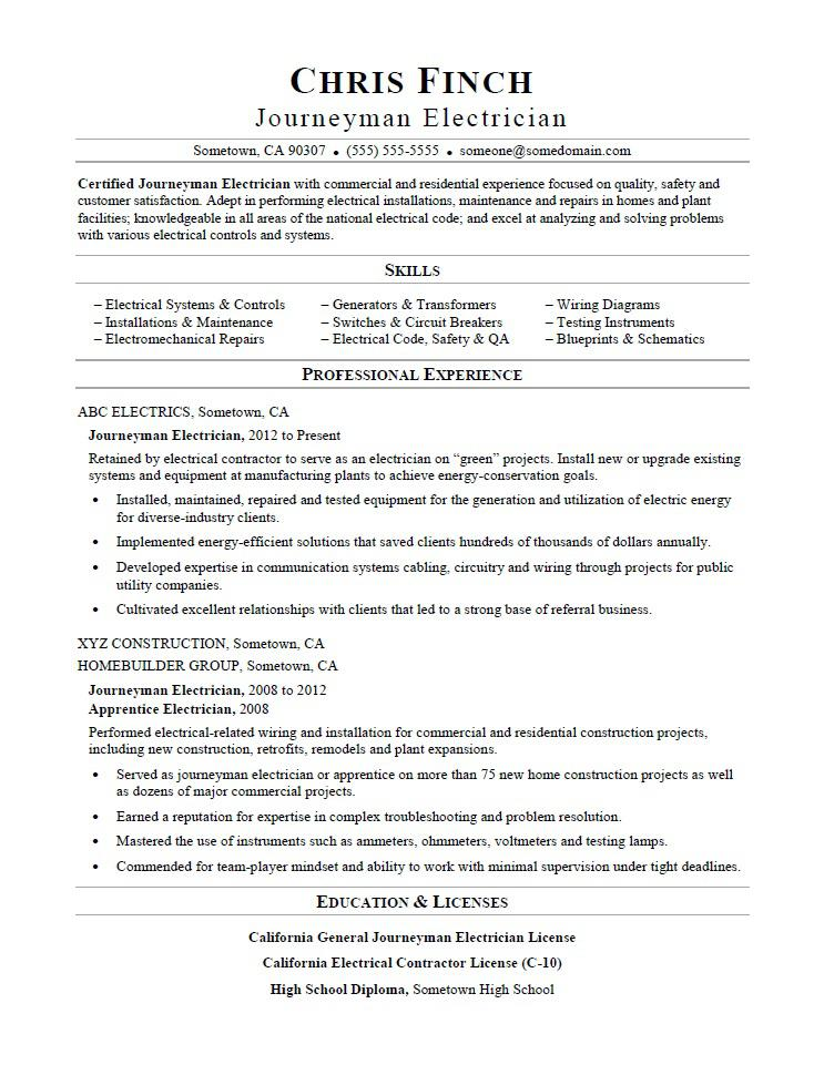 Sample Resume For A Journeyman Electrician