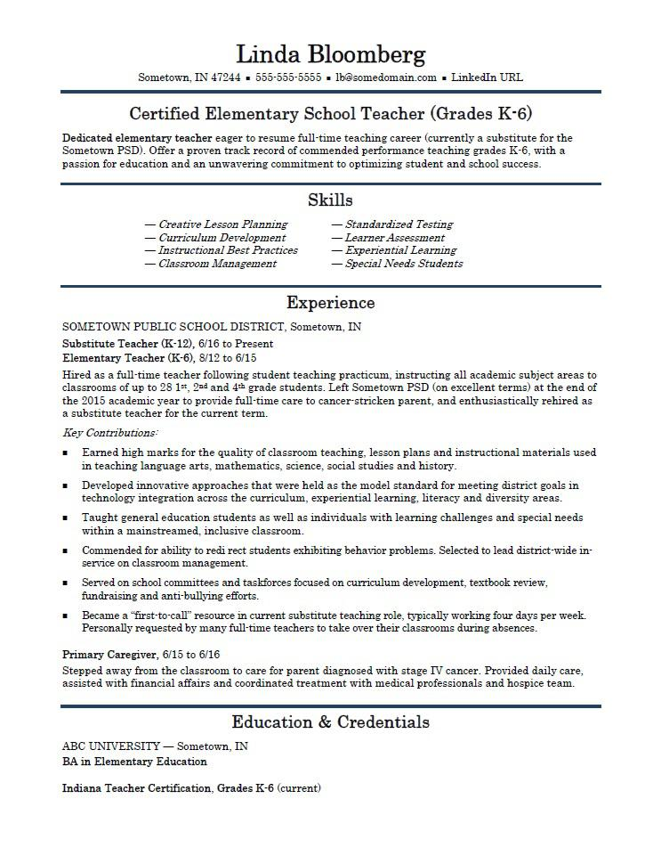 Elementary School Teacher Resume Template  Substitute Teacher Resume Job Description