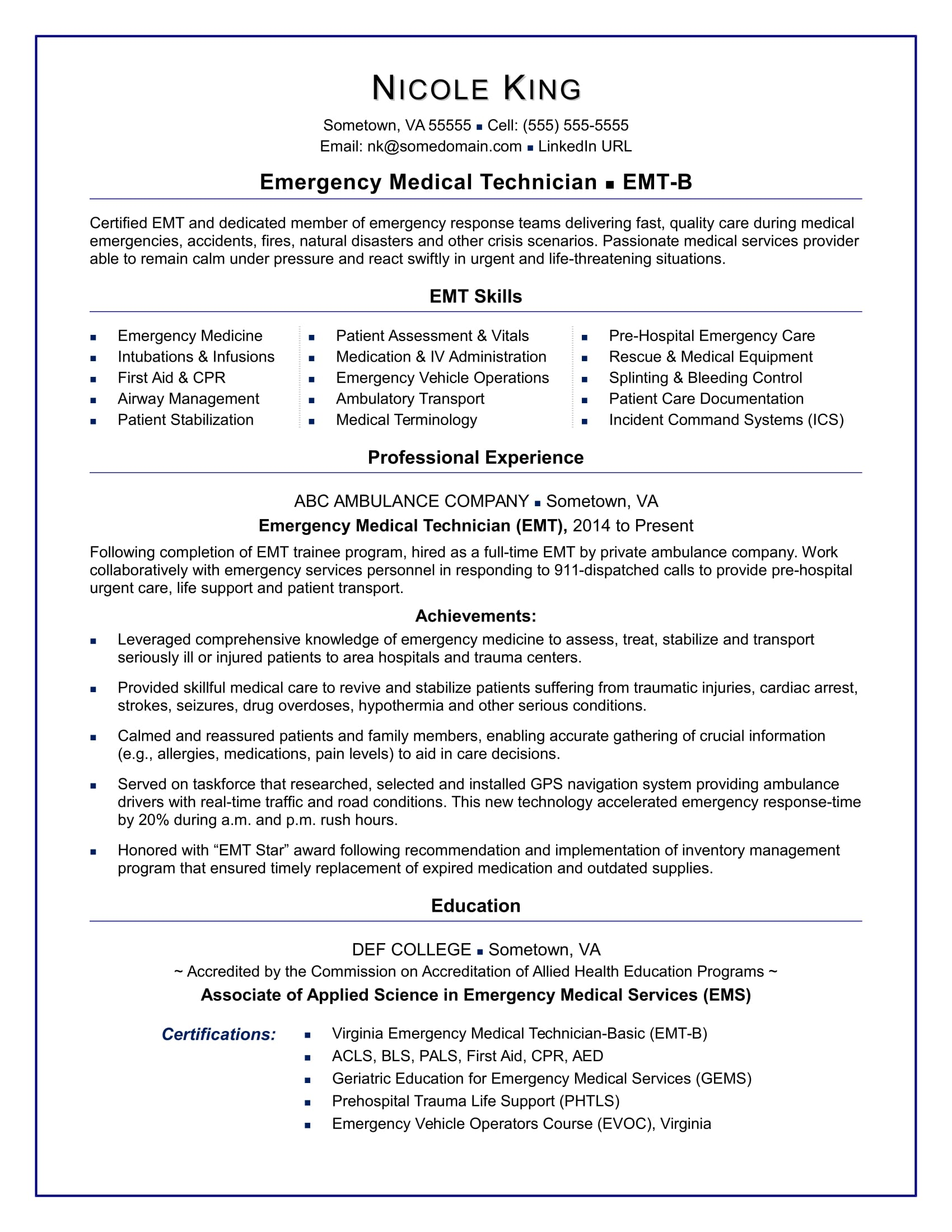 EMT Resume Sample  Medical Technician Resume