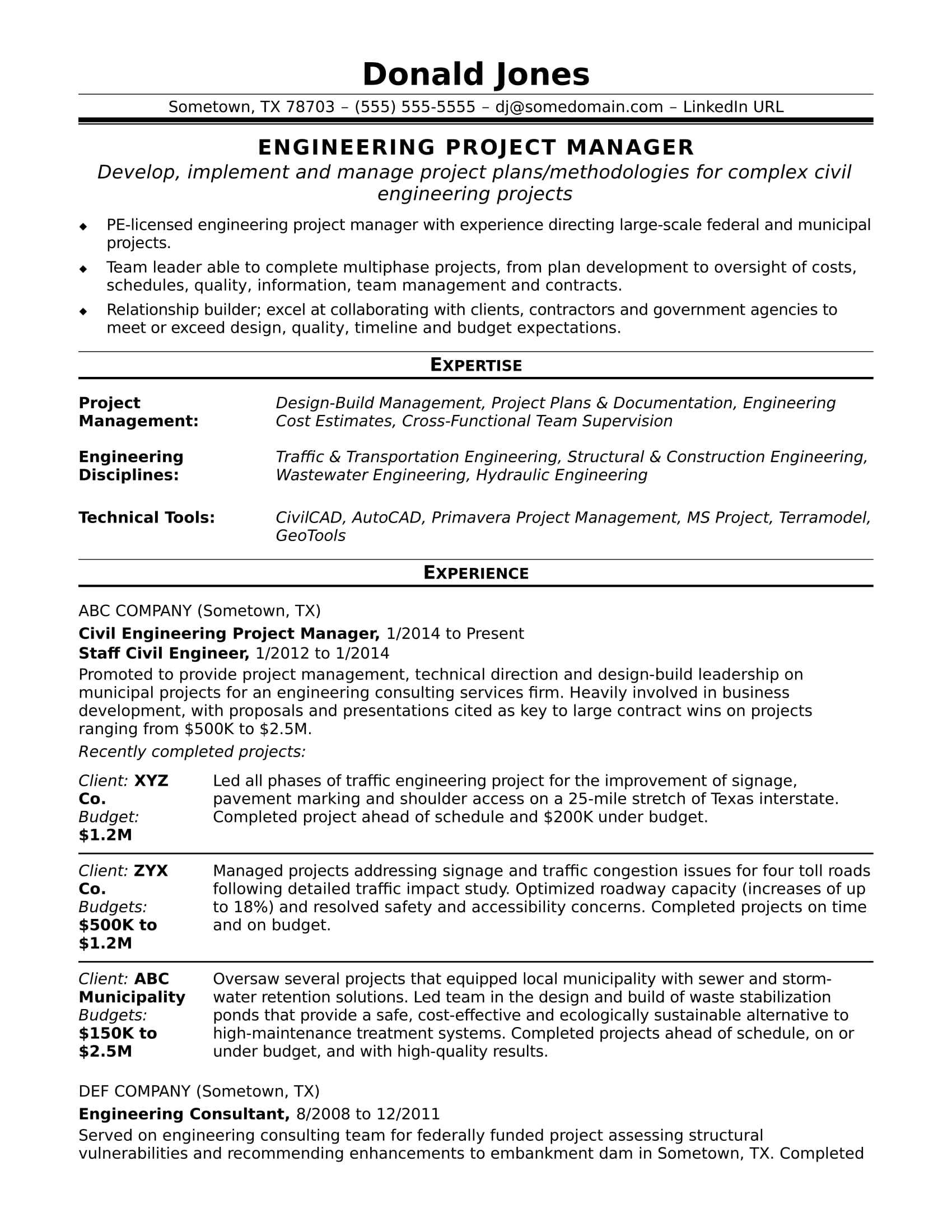 sample resume for a midlevel engineering project manager - Project Management Sample Resume