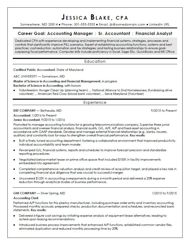 Sample Resume For An Entry Level CPA  Property Accountant Resume