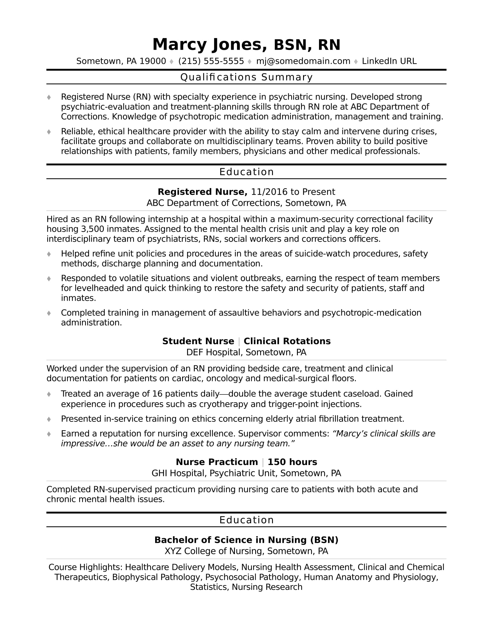Elegant Sample Resume For Entry Level Registered Nurses (RN)  Example Of Nursing Resume
