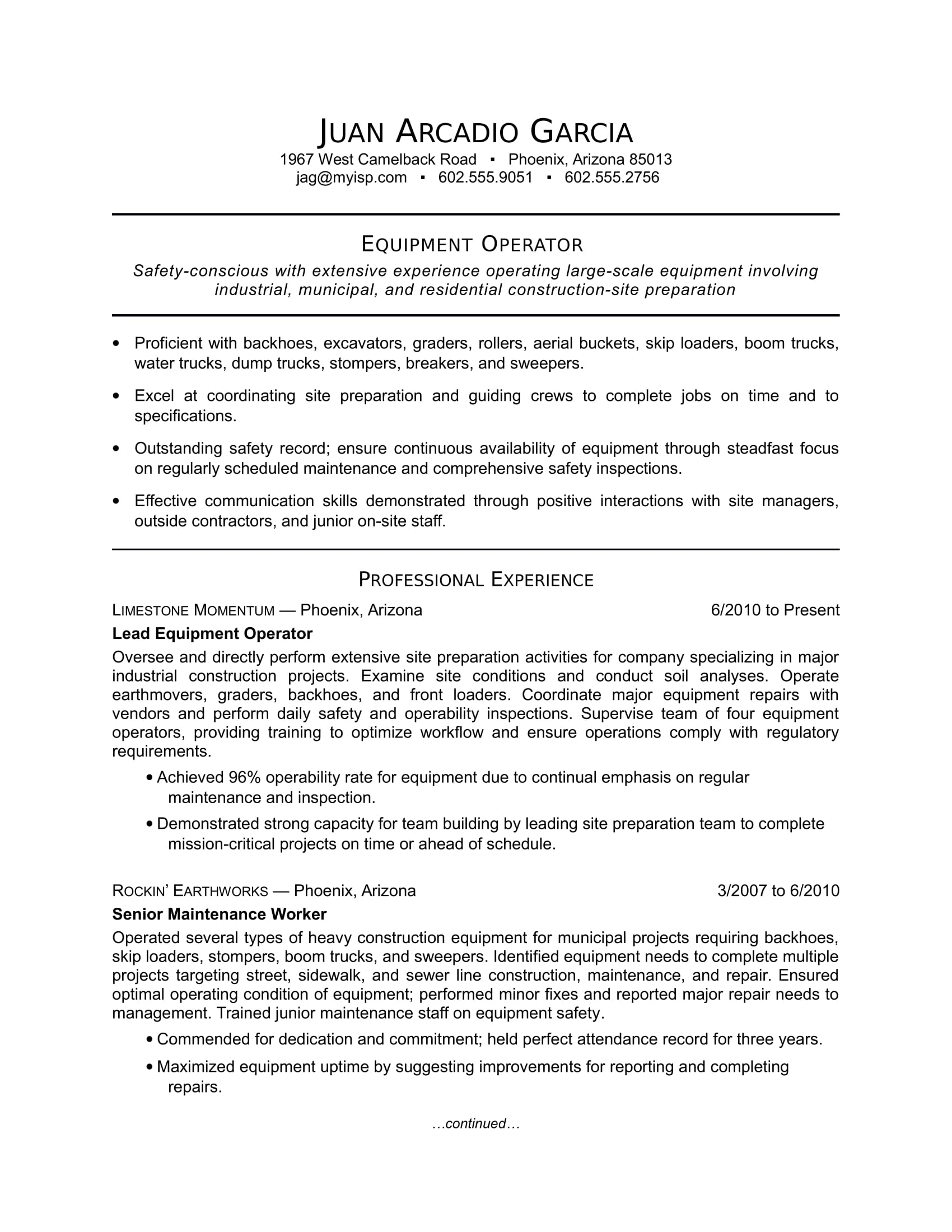 sample resume for an equipment operator - Monster Sample Resume