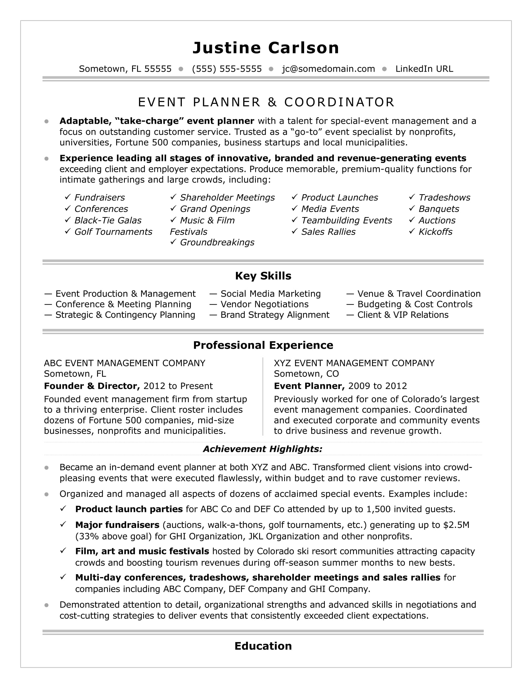 Wonderful Event Coordinator Resume Sample Intended Event Planning Resume
