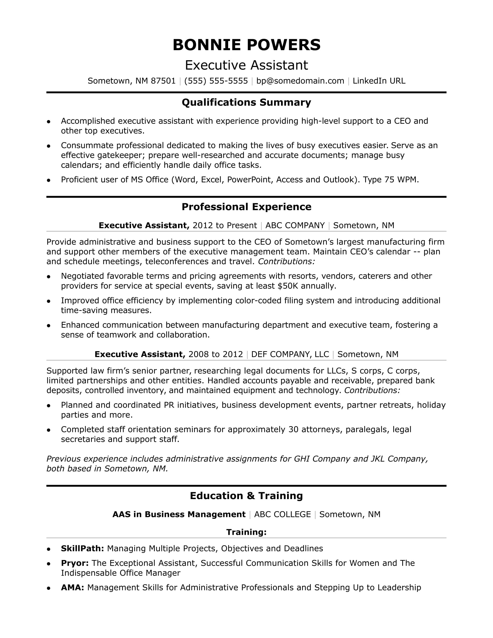 curriculum vitae for administrative assistant