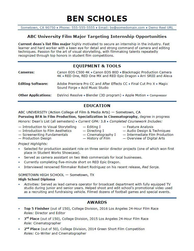 Sample Resume For A Film Industry Internship  Resumes For Internships