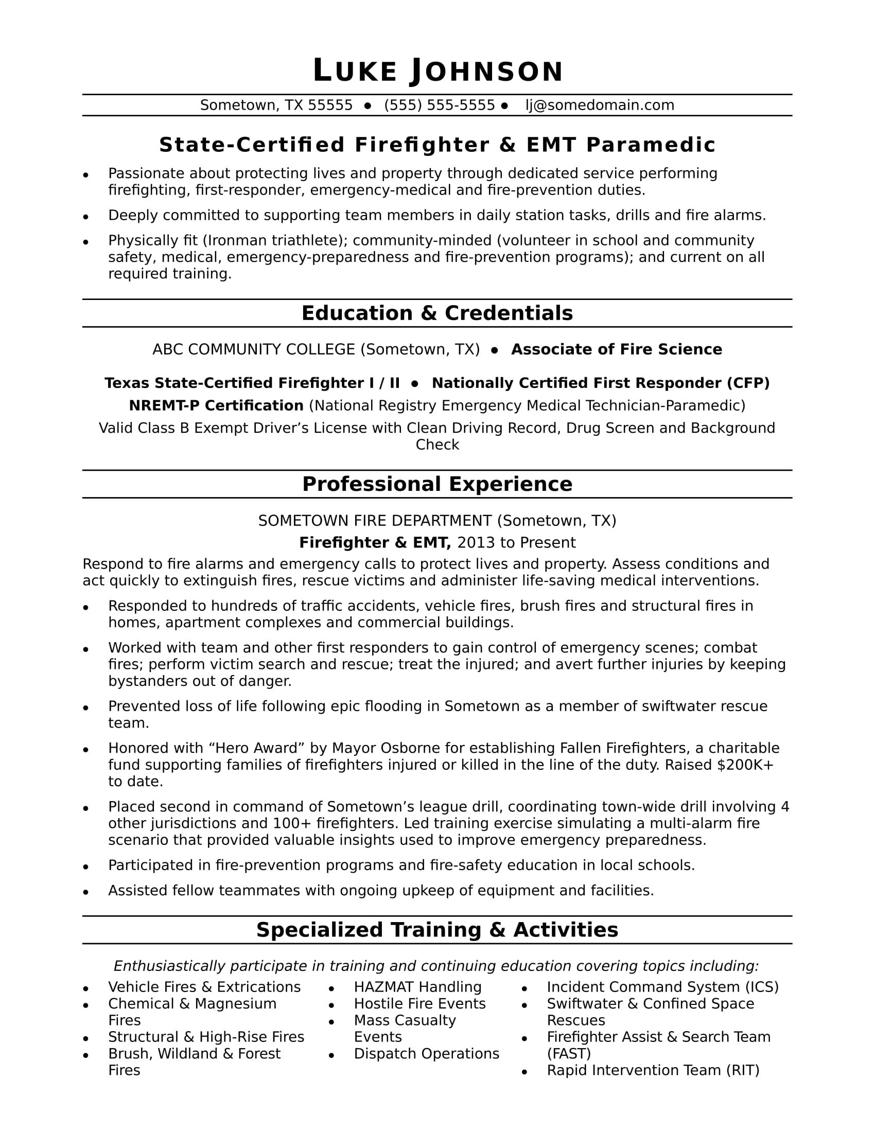 Volunteer firefighter resume