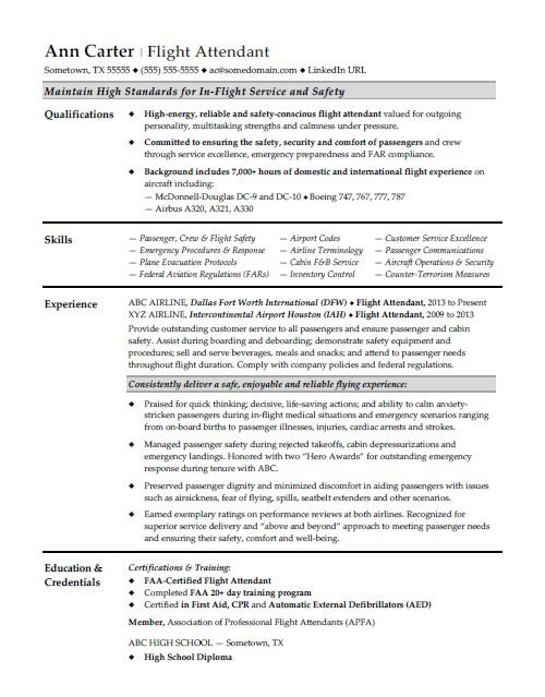 Flight Attendant Resume Sample  Aviation Resume Examples