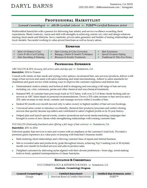 hair stylist resume sample - Hairstylist Resume Example