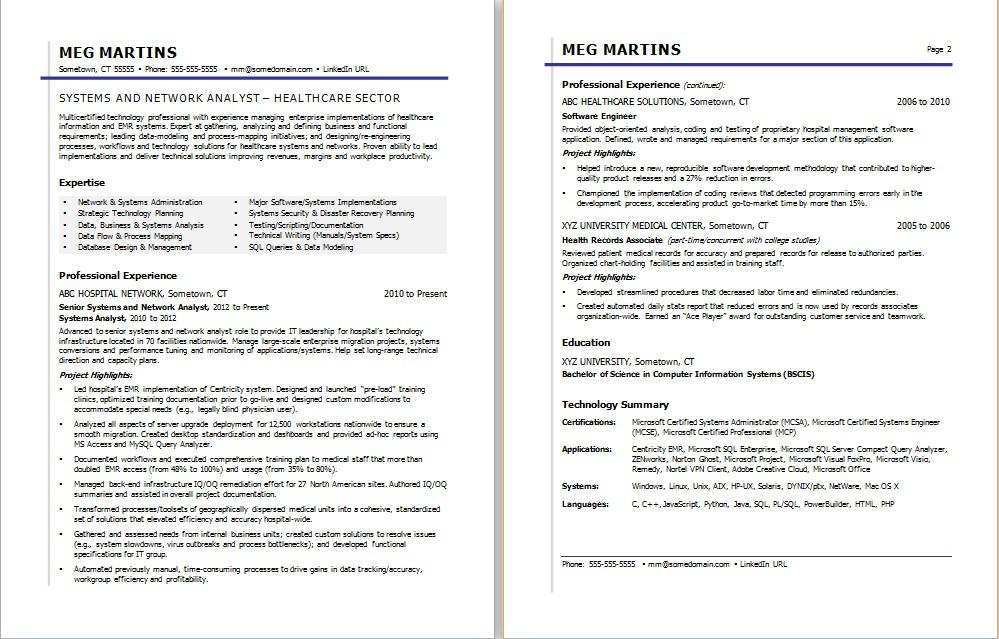 sample resume for a healthcare it professional - It Professional Resume Sample 2